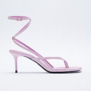 NWT ZARA Heeled Leather Square Toe Sandals 10/41